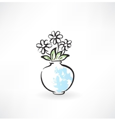 Flowers in a vase grunge icon vector