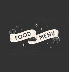 food menu vintage ribbon vector image