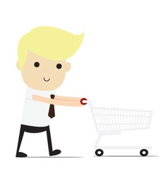 Friendly smiling cartoon businessman with empty sh vector
