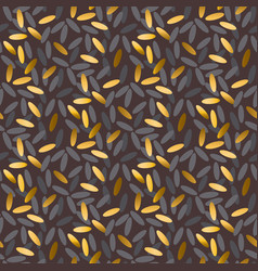 gold and black rice grain seamless pattern vector image