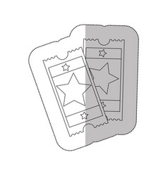 grayscale contour sticker of movie tickets vector image