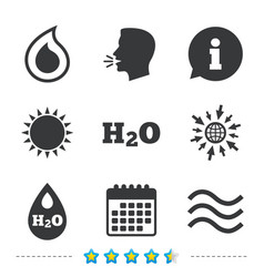 H2o water drop icons tear or oil symbols vector