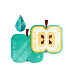 half and whole green apple with leaf natural and vector image