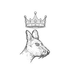 hand drawn musk deer head with crown sketch vector image