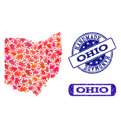 Handmade composition of map of ohio state and vector