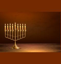 Hanukkah jewish holiday menorah wood table vector