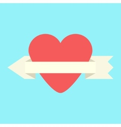 heart and arrow-ribbon icon vector image