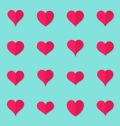 heart flat icons origami style vector image