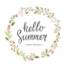 hello summer modern hand drawn lettering vector image
