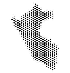 Hexagonal peru map vector