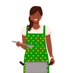 housewife boil soup in pan cooking in kitchen vector image