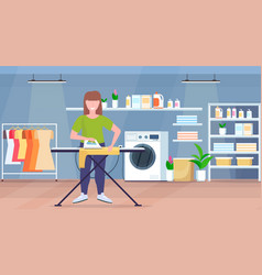 Housewife ironing clothes young woman holding iron vector