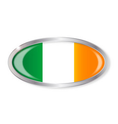 Irish flag oval button vector