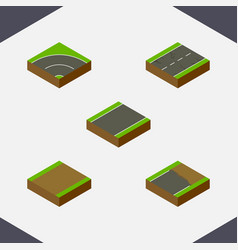 isometric way set of footpath unfinished bitumen vector image