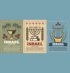 Israel and jewish harp menorah goblet vector