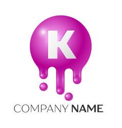 K letter splash logo purple dots and bubbles vector