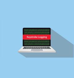 Keystroke logging concept with laptop comuputer vector