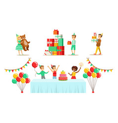 Kids celebrating birthday set children having fun vector