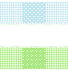 Lace border on fabric checked background vector