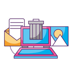 Laptop trash can archive data storage vector