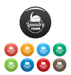 laundry room icons set color vector image