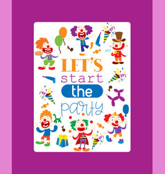 lets start party poster funny vector image