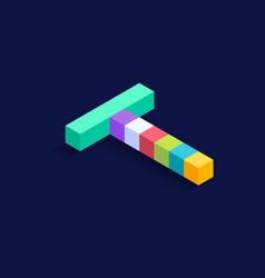 letter t isometric colorful cubes 3d design vector image