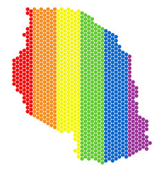 Lgbt spectrum dotted tanzania map vector