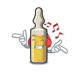 Listening music ampoule mascot cartoon style vector