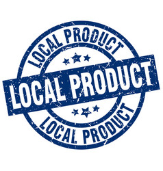 Local product blue round grunge stamp vector