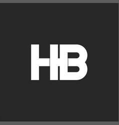 Logo hb initials monogram bold font two white vector
