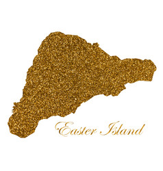 Map easter island silhouette with golden vector