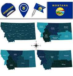 map of montana with regions vector image