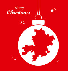 merry christmas theme with map of fort wayne vector image