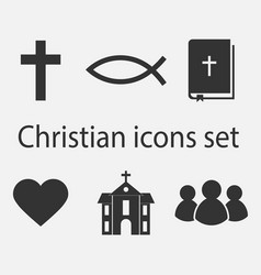 Modern christian icons set christian sign and vector