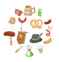 Oktoberfest party cartoon icons vector