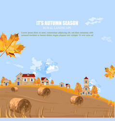 old village fall season background autumn vector image