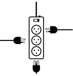 Outlet multiple socket electric power plugs plug vector