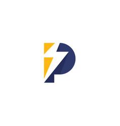 P thunder logo simple vector