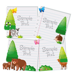 paper template with wild animals in background vector image