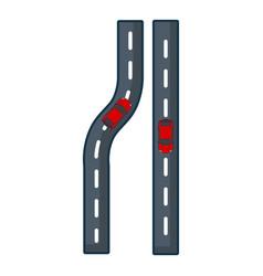 Parallel roads icon cartoon style vector