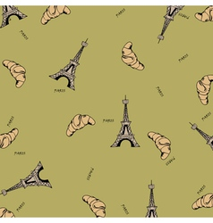 Paris seamless pattern with eiffel tower and vector image