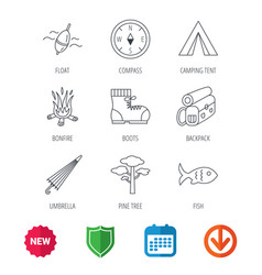 pine tree fishing float and hiking boots icons vector image