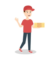 Pizza delivery boy handing three pizza boxes vector