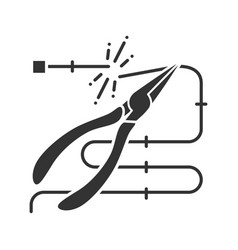 Pointed pliers cutting wire glyph icon vector