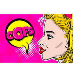 Pop art woman profile fashion face vector