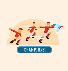 Red soccer players team celebrate with trophy vector
