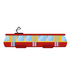 Red tram car icon cartoon style vector