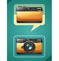 Retro camera design on green vector image