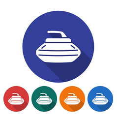 round icon of curling stone flat style with long vector image
